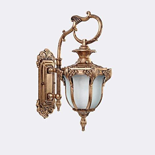 UWY Lámpara de Pared Vintage Impermeable al Aire Libre Lámpara de Pared de Vidrio Victoriana Tradicional Linterna E27 Aluminio a Prueba de Humedad Entrada de iluminación de Pared Villa Pasillo J