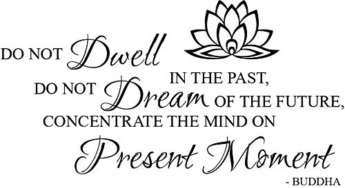 Newclew Do not Dwell in The Past, do not Dream of The Future, Concentrate The Mind on The Present Moment. -Buddha Removable Wall Sticker Décor Decal (40''W x 22''H)