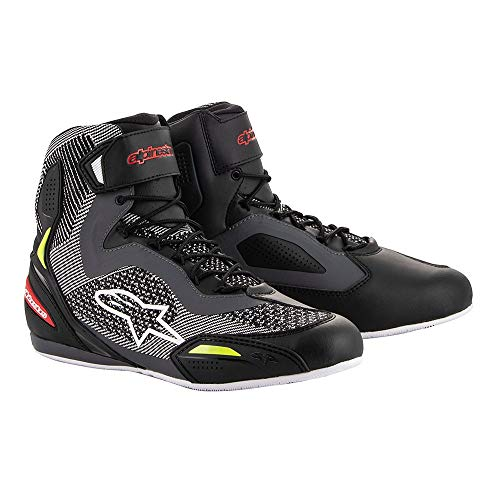 Alpinestars Faster-3 Rideknit Shoes Black Grey Red Yellow Fluo, Negro/Gris/Amarillo Fluo 46 EU