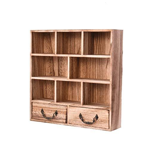 ZHFZD Houten wandstandaard, voor woonkamer, rek met 8 frames en 2 boeken, met schuifladen