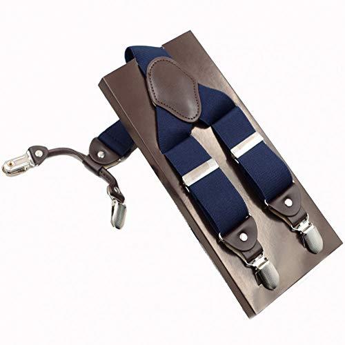 DYDONGWL Suspenders/Fashion Man Suspenders 4 Clips Braces Elastische Verstelbare beugels Suspenders Casual Broek ligas met kleur doos