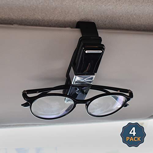 EcoNour Sunglasses Holder for Car (4 Pack)   Sunglass Visor Clip with Ticket & Card Holder   Car Eyeglass Holder   Double End 360 Degree Rotatable Glasses Holder for car (Black/Silver)