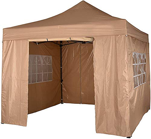 Garden Pavilion Tent, with Side Panels, Fully Waterproof, Powder Coated Steel Frame,Beige