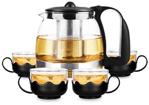 Lawei Ensemble de théière résistant à la chaleur Infuse Théière Infuseur à thé avec 4 verres double paroi, 700 ml