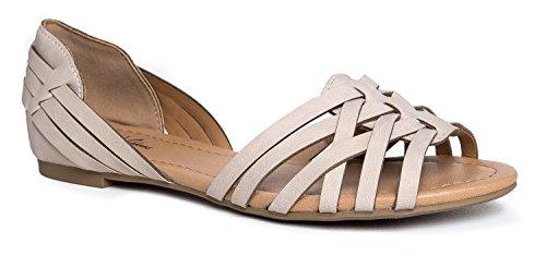 J. Adams Peep Toe Flat Sandal, Taupe NBPU, 9 B(M) US