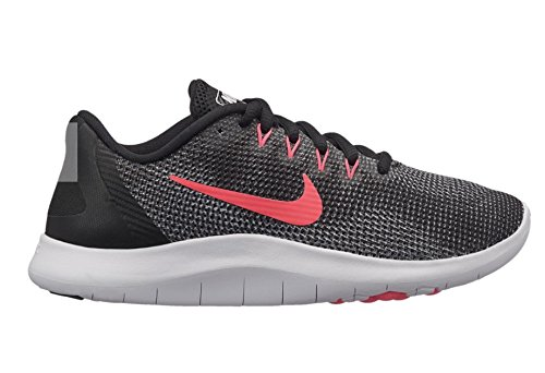 Nike Girls Flex 2018 RN (GS) Running Shoes (4.5 Big Kid M, Black/Racer Pink/White)