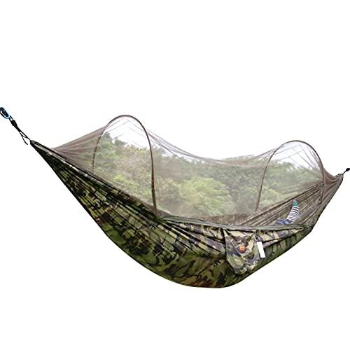 Bktmen Hamaca de Acampar con Anti-mosquitis, Ultraligero Doble Hamaca paracaídas para Excursionismo al Aire Libre Patio de Patio Traseros