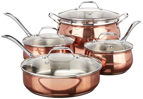 Oster Carabello Juego de utensilios de cocina de acero inoxidable de color cobre con tapas de vidrio templado