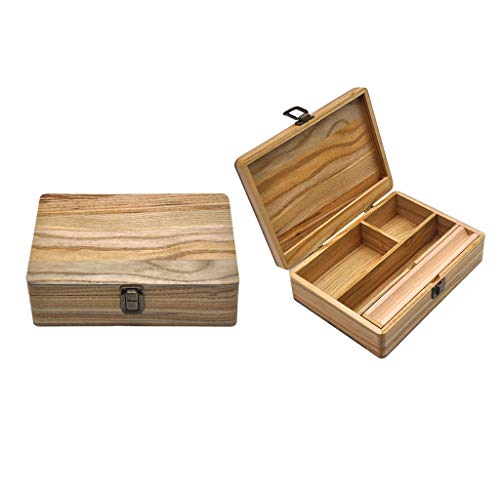lahomia Caja de Madera para Cigarrillos, Caja de Almacenamiento de Papel Enrollable, Caja de Monedas