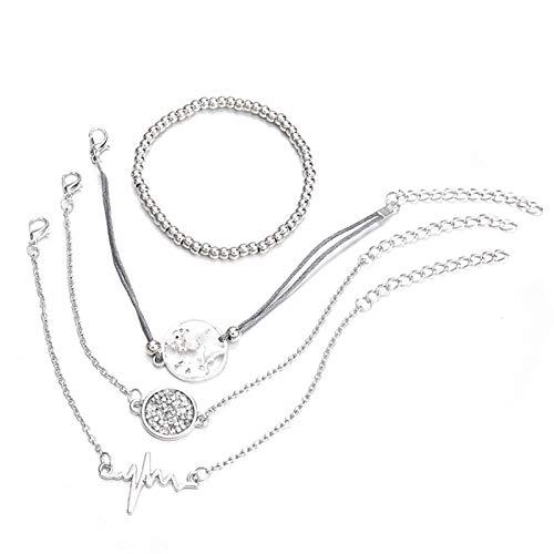 JIEERCUN Pulsera Cadena de Plata de Las Mujeres Joyería de la Moda de la Manera del corazón Regalo Lucky Bracelet Pulsera Decorativa Pulsera (4pcs) brazaletes (Color : A)
