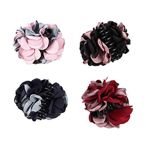 Lurrose 4 Stücke Band Haargreifer Große Klaue Schellen Rose Blume Bogen Kiefer Haarspange Haarspange für Mädchen Frauen