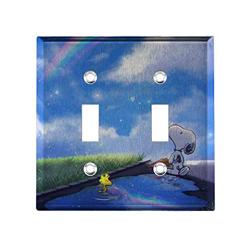 YCLL Fantasy Snoopy Decor Light Switch Plate, Double Toggle Switch Wall Plate Outlet Covers, Standard Size 4.6x4.5 in