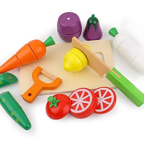 Juguetes De Corte Para Niños Juguete Pretend hortalizas, alimentos con el cuchillo conjunto de fruta de madera for niños Frutas y Verduras for la Educación Temprana Educación Juguetes de simulación Ju