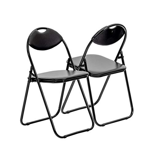 Harbour Housewares Black Padded, Folding, Desk Chair/Black Frame - Pack of 2