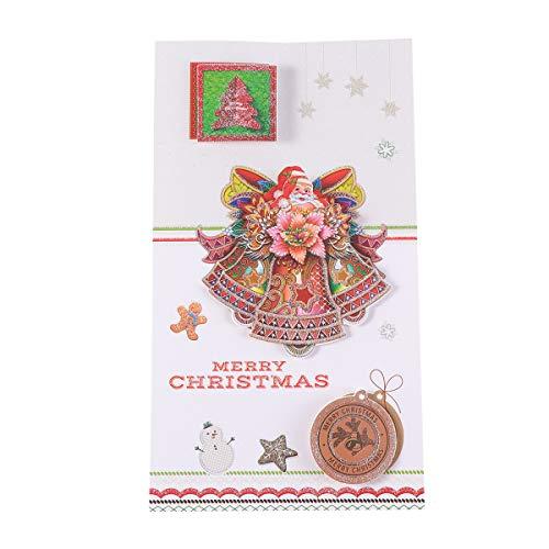 Yeahibaby 8 stücke Handmade 3D Weihnachtskarte Grußkarte DIY Karte Weihnachten Themen Kreative Familie Freunde (zufällige Muster)