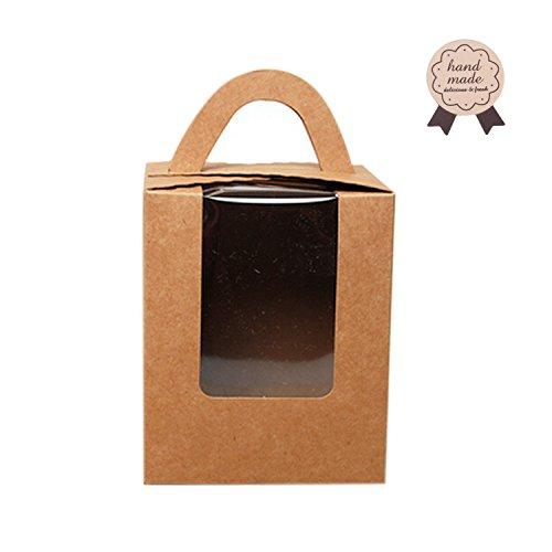 Juego de 12 cajas de magdalenas portátiles con ventana/armario de PVC Kraft