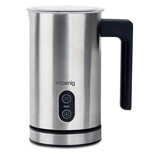 H.Koenig Elektrischer Milchaufschäumer MLK8 - Edelstahl - 0,24L -cremiger Kalt- oder Heißschaum - Antihaftbeschichtung - automatische Abschaltung - ideal für Kaffee, heiße Schokolade, Cappuccino, Milc