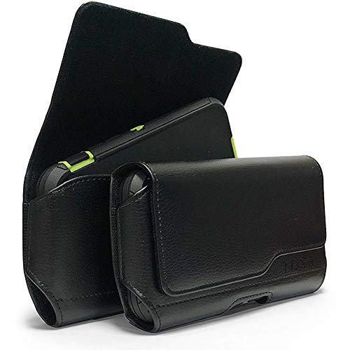 Black Leather Belt Clip Loop Holster Horizontal Cell Phone Pouch For BLU Vivo 6, Pure XR, Vivo 5R, Vivo XL2 XL3, Life Max, Studio Max, Dash XL Fit with Otterbox Defender Lifeproof Battery Back Case On