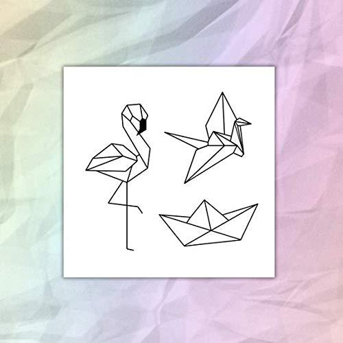 Set Origami - Flamenco - Barquito - Grulla - tatuajes temporales - Pack de 3