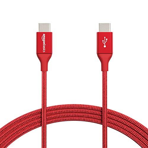 Amazon Basics - Cavo da USB C a USB di tipo C 2.0, in nylon a doppio intreccio | 3 m, Rosso