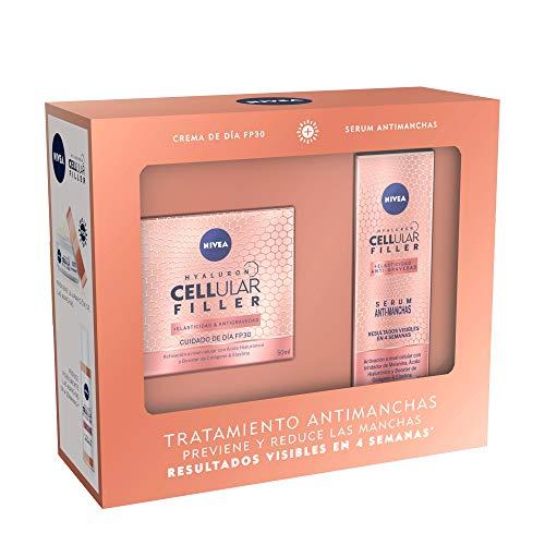 NIVEA Pack Hyaluron Cellular Filler Tratamiento Antimanchas y Elasticidad, set de regalo con crema antiarrugas con FP30 (1 x 50 ml) y sérum antimanchas (1 x 30 ml)