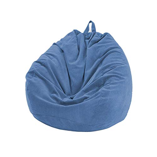 N /C Corduroy Sofa Cover for Bean Bag Chair Cover(No filler), Water Drop Shape Sofa Cover, Nordic Furniture Accessory (Dark Blue, 39.37'*47.24')
