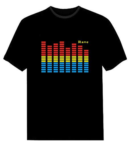 Triseaman Parejas Adulto Control de Audio LED Intermitente Club Nocturno Fiesta Camiseta