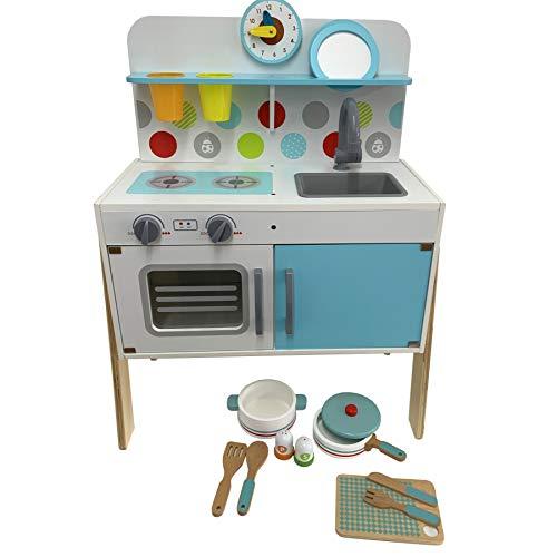 TikTakToo Kinder Spielküche mit Zubehör aus Holz Kinderspielküche mit Geschirr, Töpfe in Weiss