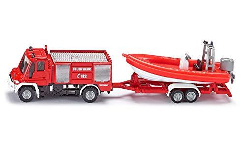 siku 1636001, Feuerwehr Unimog mit Boot Frankreich, Metall/Kunststoff, rot, Schwimmfähiges Boot