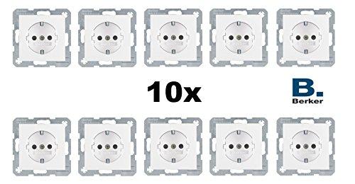10x Berker 47238989 Steckdose SCHUKO mit Kinderschutz BS S.1 polarweiß glänzend