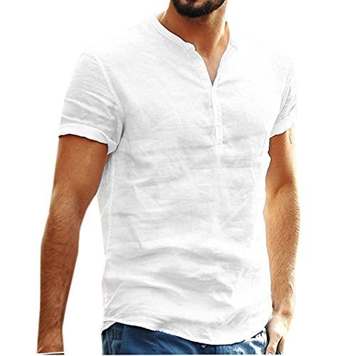 WAEKQIANG Camisa De Hombre Fino con Cuello Alto Informal De Color Puro Y Todo FóSforo