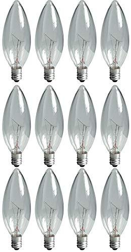 GE Lighting 24779 60-watt 650-Lumen Blunt Tip Light Bulb with Candelabra Base, Crystal Clear, 12-Pack