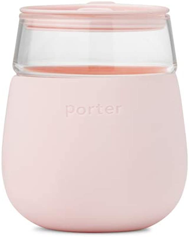W P WP PCG BL Portable Porter Wine Cocktail Glass On The Go Protective Silicone Sleeve Dishwasher Safe 15 Ounces Blush