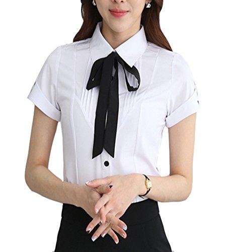 Cheerlife Elegant Damen Bluse Kurzarm mit Schleife Hemdblusen Hemd Slim Fit OL Business Tunika Oberteil L Weiß