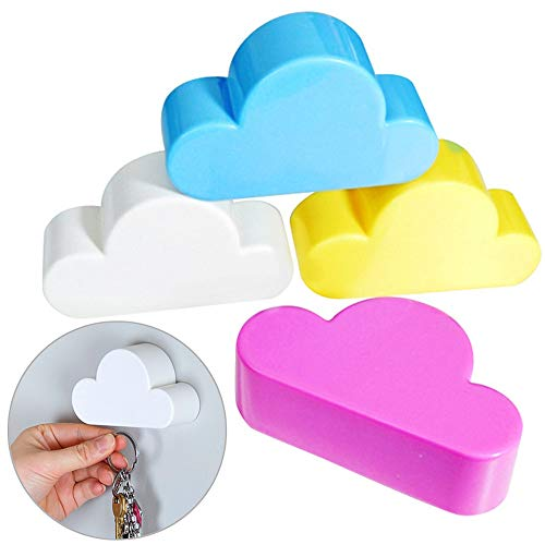 4 Pcs White Cloud Magnetic Wall Key Holder with Adhesive Magnetic Key Ring Holder for Wall Door ,Powerful Magnets Keep Keychains and Loose Keys Securely in Place