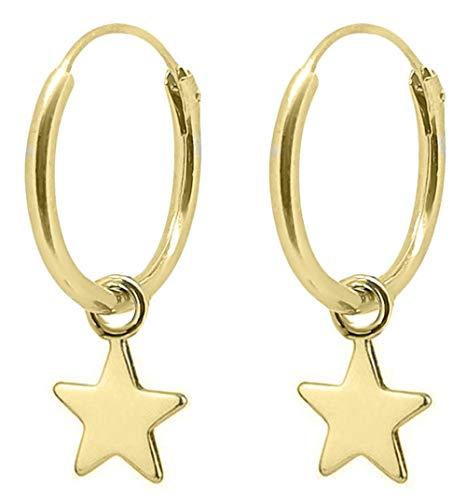 ENTREPLATA Pendientes Aro con Colgante de Plata de Ley 925 Chapado Oro 24 K. Pequeña Estrella