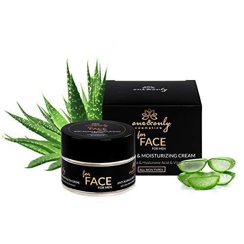 One&Only for Face Aloe Vera Cream for Men 50 ml Crema Facial para Hombres Cosméticos Masculino Crema Hidratante Antiarrugas Gel regenerador Aftershave Productos para el cuidado facial