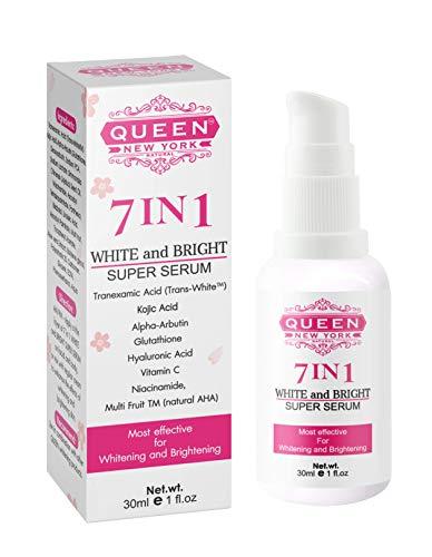 QUEEN NATURAL NEW YORK | 7in1 White Bright Super Serum-5% Tranexamic Acid,5% Kojic Acid,2% Alpha Arbutin-Dark Spot Remover Melasma Treatment Anti Aging Vegan Cruelty Free-NO FRAGRANCE (Pack of 1)