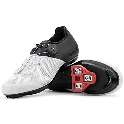 Tommaso Pista Aria Elite Women's Indoor Cycling Ready Cycling Shoe and Bundle - White/Black - Look Delta - 43