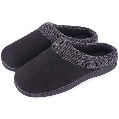 Men's Comfort Cotton Memory Foam House Slippers Slip On Shoes Indoor/Outdoor (7-8 D(M) US, Space Black)