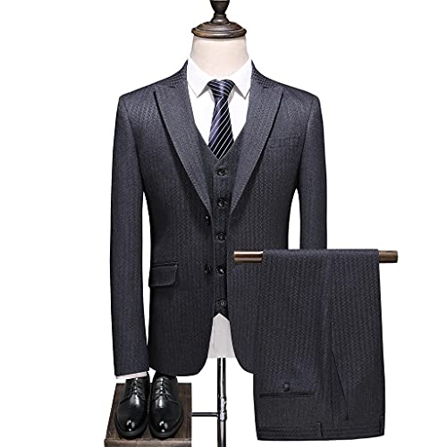 LEPSJGC ジャケットベストパンツメンズファッションスリムフィット男性ビジネスフォーマルスーツブレザーコートパンツスリーピースセット (Color : Gray b, Size : XXXL code)