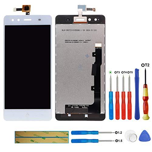 swark Pantalla LCD Compatible con BQ Aquaris X5 Blanco (sin marco) Pantalla táctil digitalizador Cristal de montaje + herramientas
