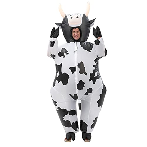 Inflatable Cow Costume Adults Dairy Cattle Suit Blow up Animals Jumpsuits Funny Fancy Dairy Cows Dress for Halloween Christmas Masquerade Party Cosplay