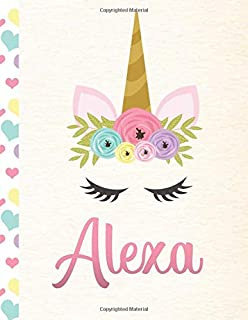 Alexa: Personalized Unicorn Sketchbook For Girls With Pink Name - 8.5x11 110 Pages. Doodle, Sketch, Create!