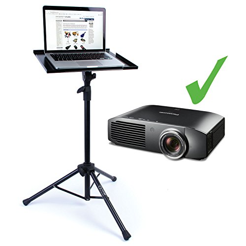Projector & Laptop Floor Stand: Portable Lectern/Table, adjustable to 1.15m tall - Folding Heavy Duty Tripod Base and All Metal Shelf/Tray to Support your Tech Safely