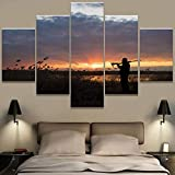 HIOJDWA Paintings 5 Pieces Canvas Paintings Hunting Duck Print Pictures Home Decor Framed Wall Art
