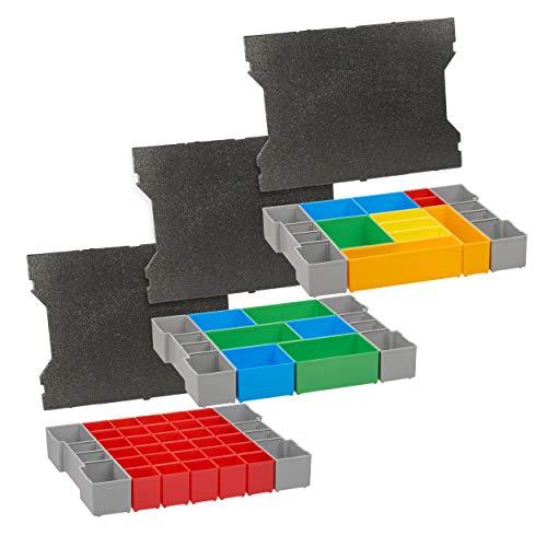 Bosch Sortimo L-box Einlagen | 3er Set Werkzeugkoffer Einlagen für LBoxx G4 mit Deckelpolster | Idealer Sortierkasten & Einsatz für Werkzeugkoffer