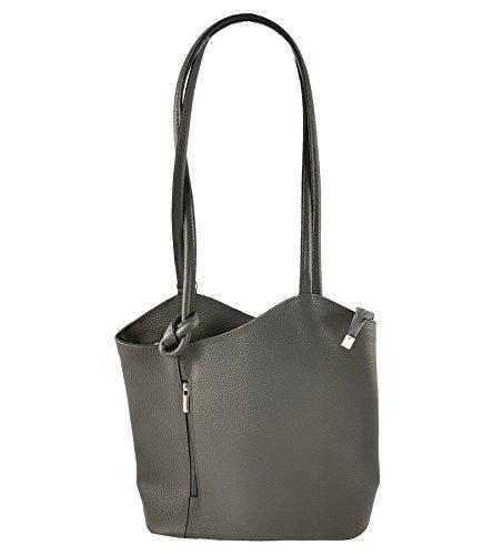 Freyday 2 in 1 Handtasche Rucksack Designer Luxus Henkeltasche aus Echtleder in versch. Designs HR03 (Glattleder Dunkelgrau)