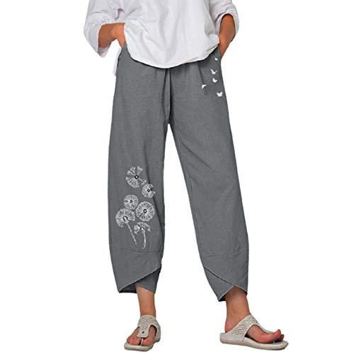 Alaurbeauty Pantalones de algodón para mujer, de lino, informales, de verano, con estampado de mariposas, ligeros, sueltos con cintura elástica, pantalones capri con bolsillos A-gris XXL