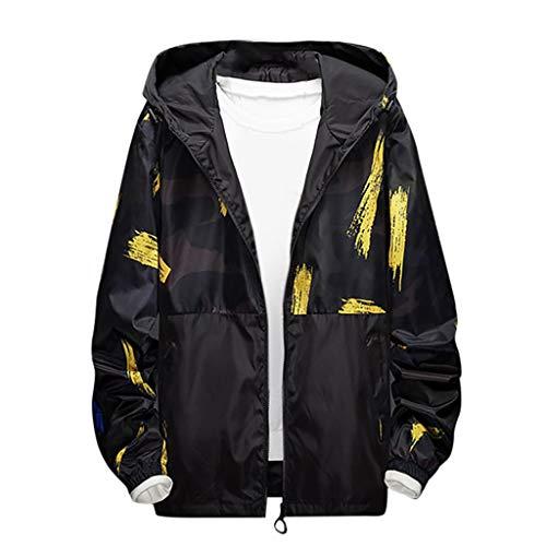 MAYOGO Sweatjacke Herren Goretex Regenjacke Softshell Jacke Camouflage Outdoor Trainingsjacke Sportlich Fitness Jacke Übergangsjacke Windbreaker Große Größen (Gelb, 7XL / EU:50)